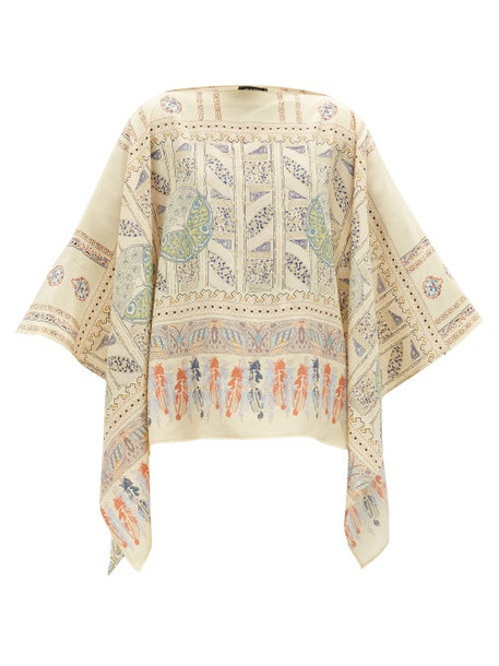 Etro - Printed Silk-crepe Poncho - Womens - Yellow Multi