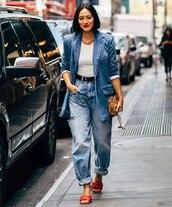 jeans,ripped jeans,maison margiela,sandal heels,blazer,denim,white top,bag