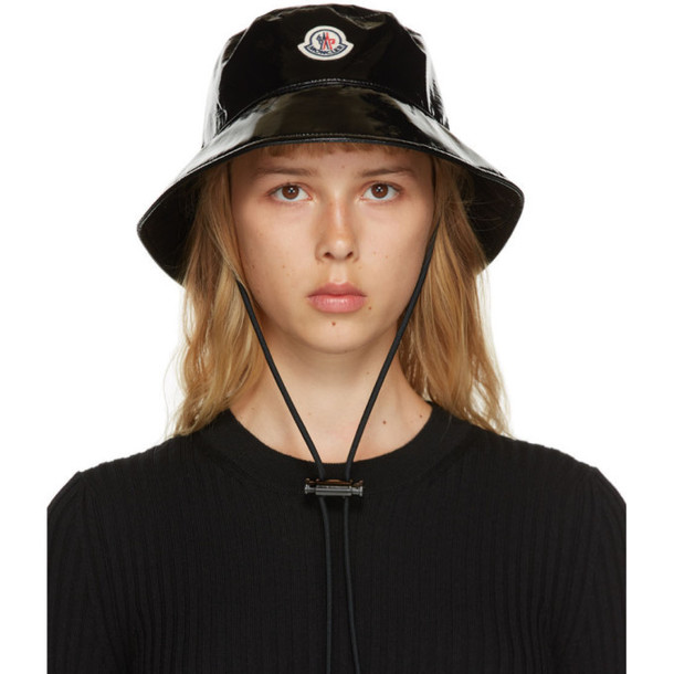 Moncler Black Shiny Logo Bucket Hat