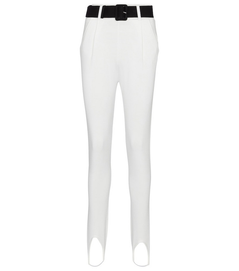 Self-Portrait Belted high-rise skinny stirrup pants in white