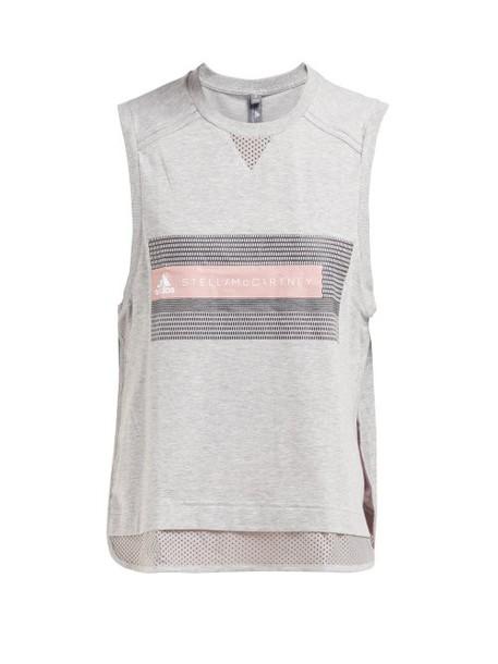 Adidas By Stella Mccartney - Logo Print Cotton Blend Tank Top - Womens - Grey