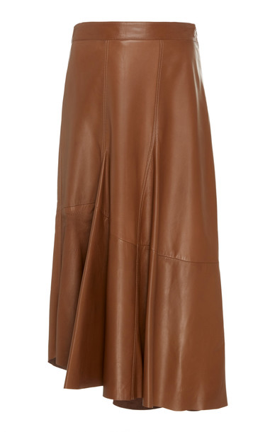 Brunello Cucinelli High-Waisted Leather Midi Skirt in brown
