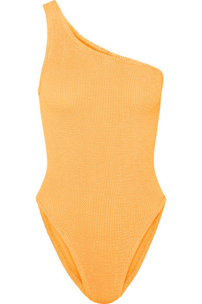 Hunza G - Nancy One-shoulder Seersucker Swimsuit - Bright orange