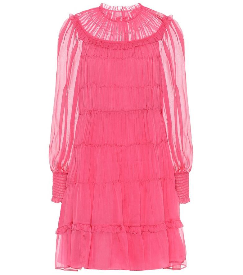 Ulla Johnson Emmeline pleated silk minidress in pink