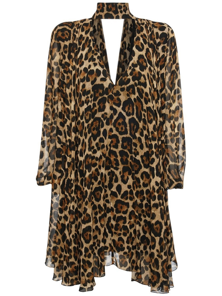 BLUMARINE Viscose Printed Mini Dress W/ Collar