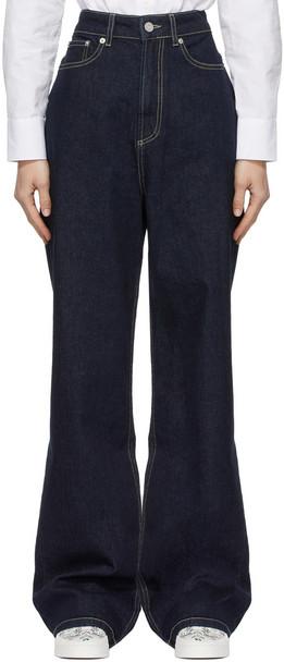 Maison Kitsuné Maison Kitsuné Navy Loose Fit Jeans