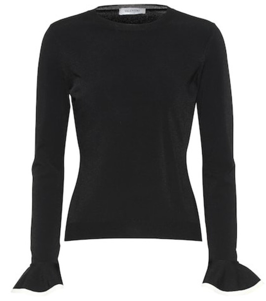 Valentino Ruffle-trimmed sweater in black