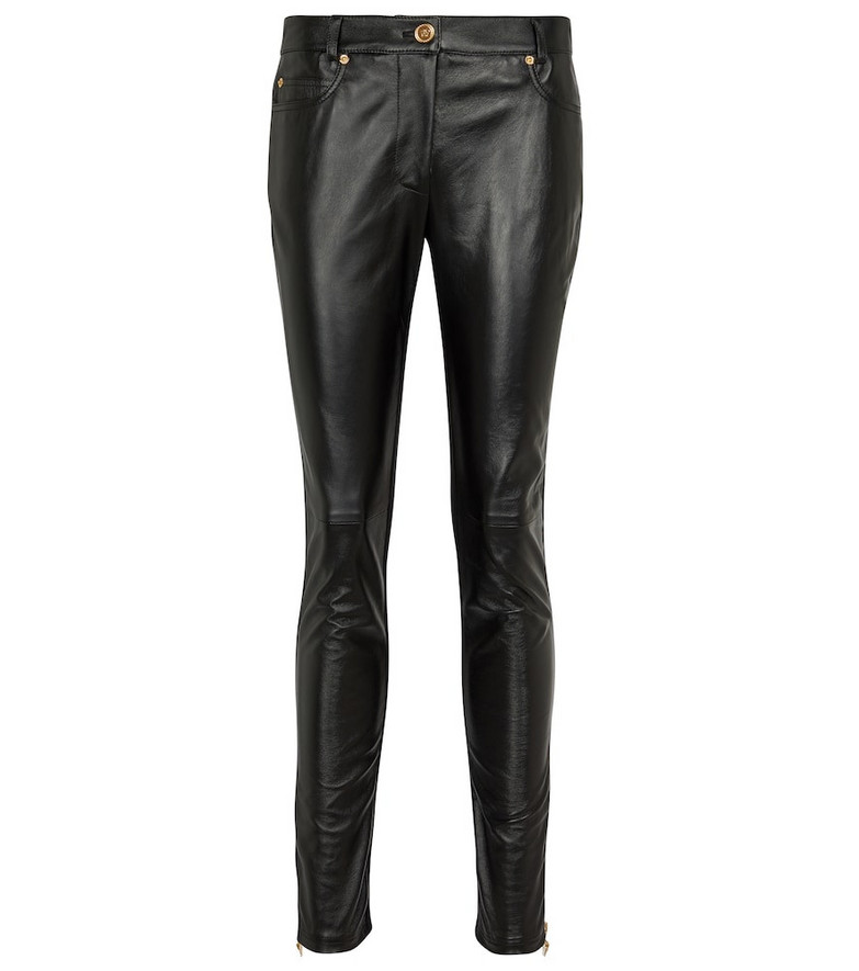 Versace Medusa leather and jersey skinny pants in black