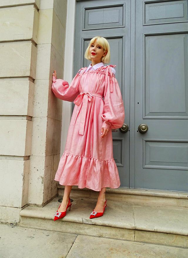 stella's wardrobe blogger shirt dress shoes pink dress red shoes