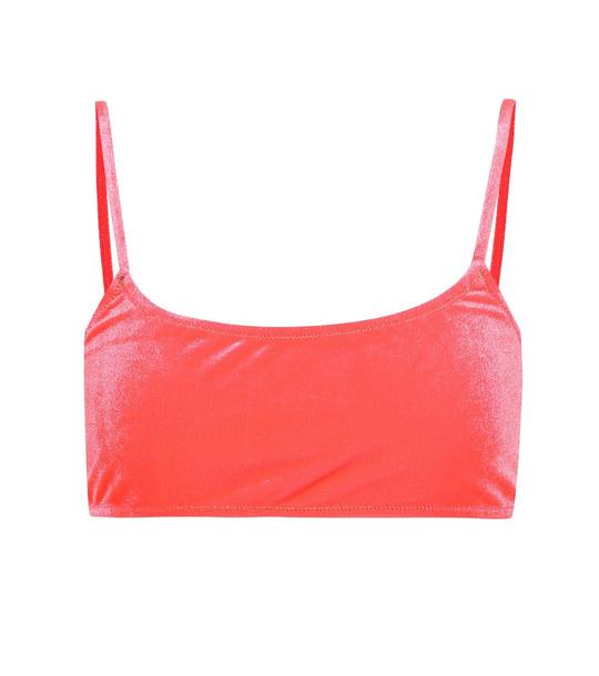 Reina Olga Stella velour bikini top in pink