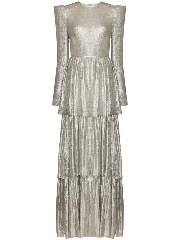 The Vampire's Wife Spokelam lamé-effect tiered maxi dress in silver