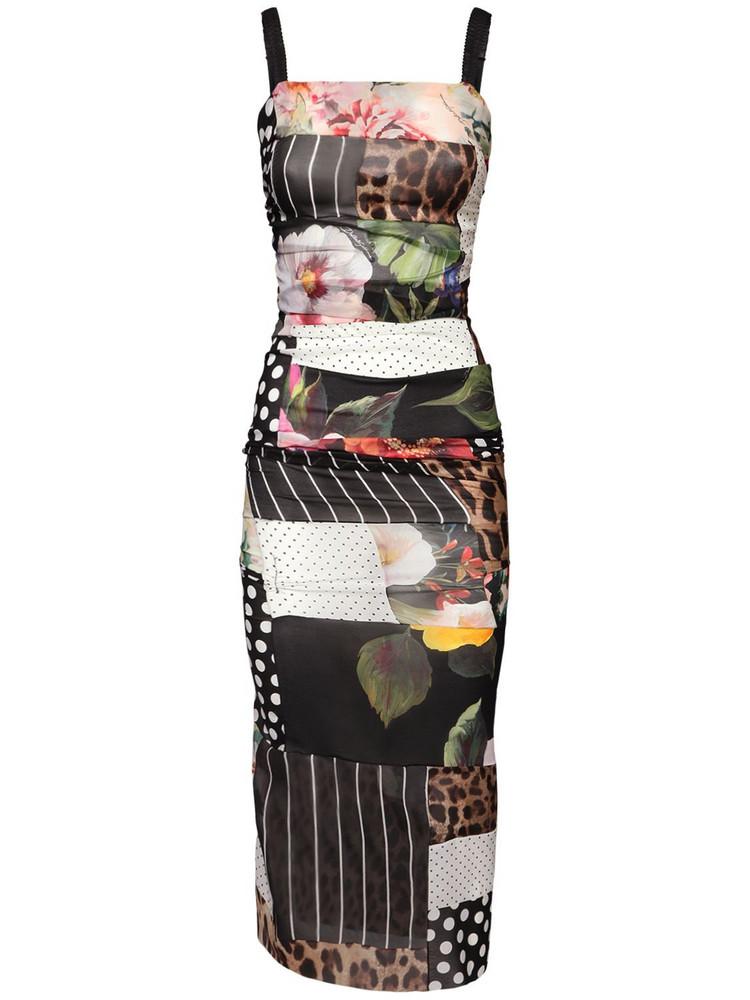 DOLCE & GABBANA Patchwork Chiffon Georgette Midi Dress