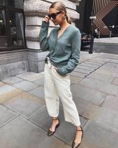 sweater,cardigan,wide-leg pants,white pants,sandals,sunglasses