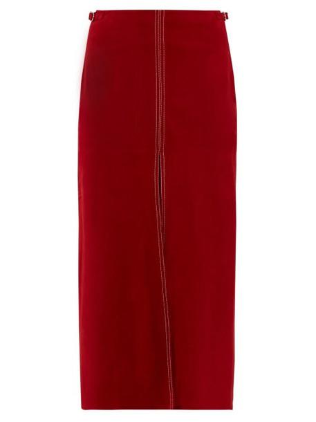 Gabriela Hearst - Morelos Topstitched Suede Pencil Skirt - Womens - Dark Red