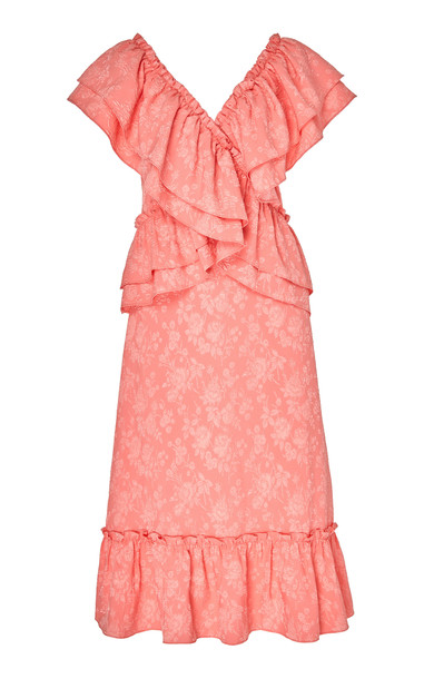HOFMANN COPENHAGEN Stephanie Ruffled Midi Dress in pink