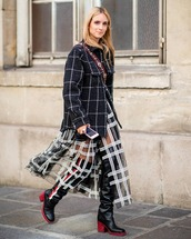 shoes,knee high boots,dior,plaid jacket,tulle skirt,plaid skirt,black and white