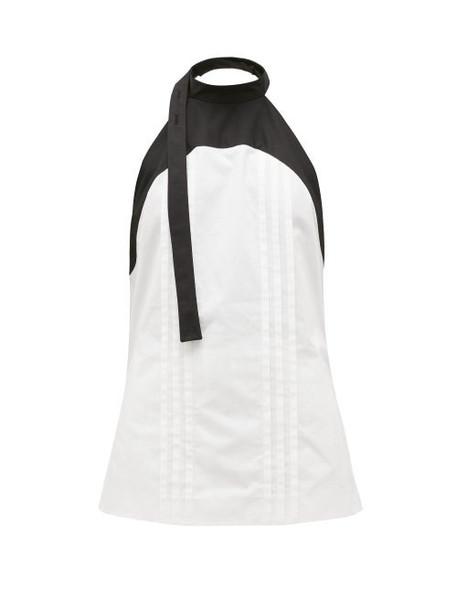 Loewe - Panelled Halterneck Cotton-poplin Blouse - Womens - White Black