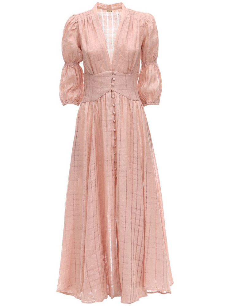 CULT GAIA Willow Eyelet Lace Midi Dress in pink