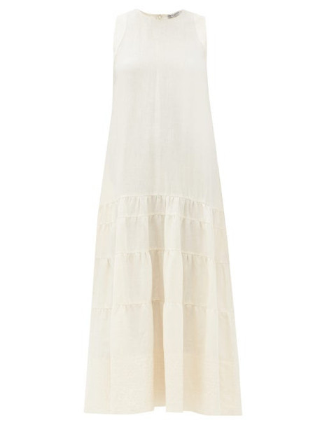 Three Graces London - Abigail Tiered Linen Maxi Dress - Womens - Ivory