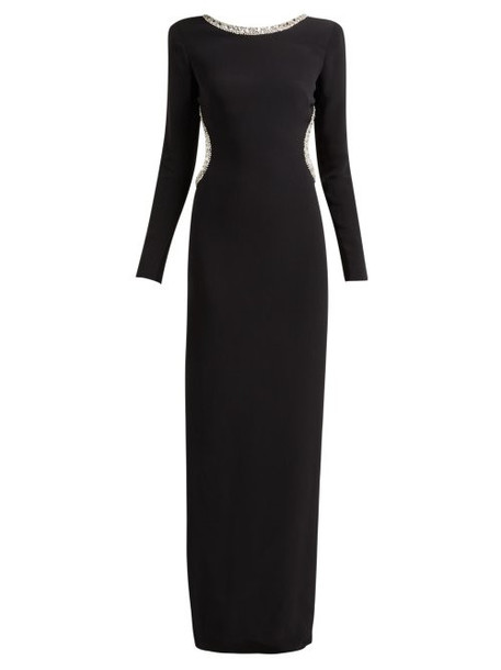 Alessandra Rich - Crystal Embellished Cut Out Stretch Crepe Gown - Womens - Black