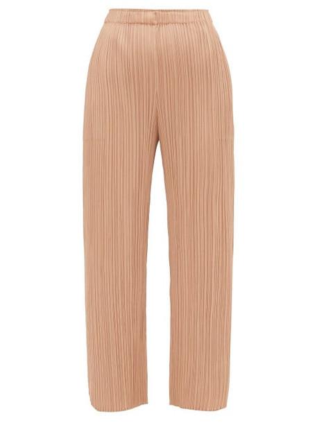 Pleats Please Issey Miyake - Split Cuff Pleated Trousers - Womens - Beige