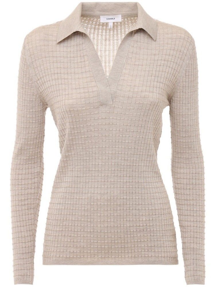 CASASOLA Cashmere & Silk Knit Polo Sweater in beige