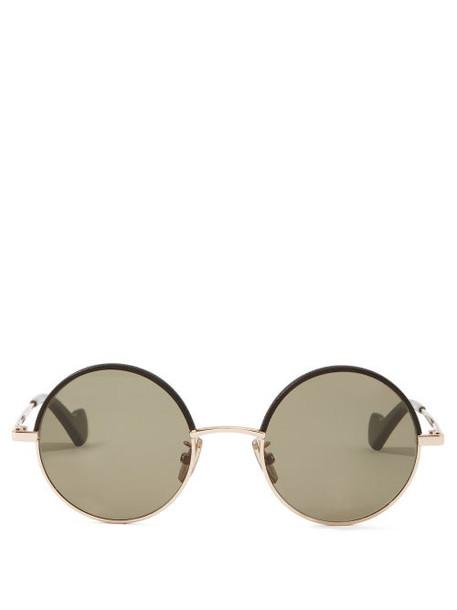 Loewe - Leather-rim Round Metal Sunglasses - Womens - Brown