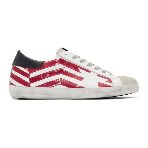 Golden Goose White & Red Flag Superstar Sneakers