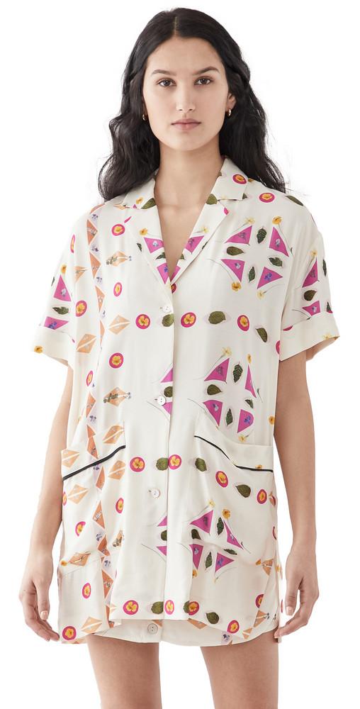 Victoria Victoria Beckham Short Sleeve Patch Pocket Paper Shirt in pink / multi