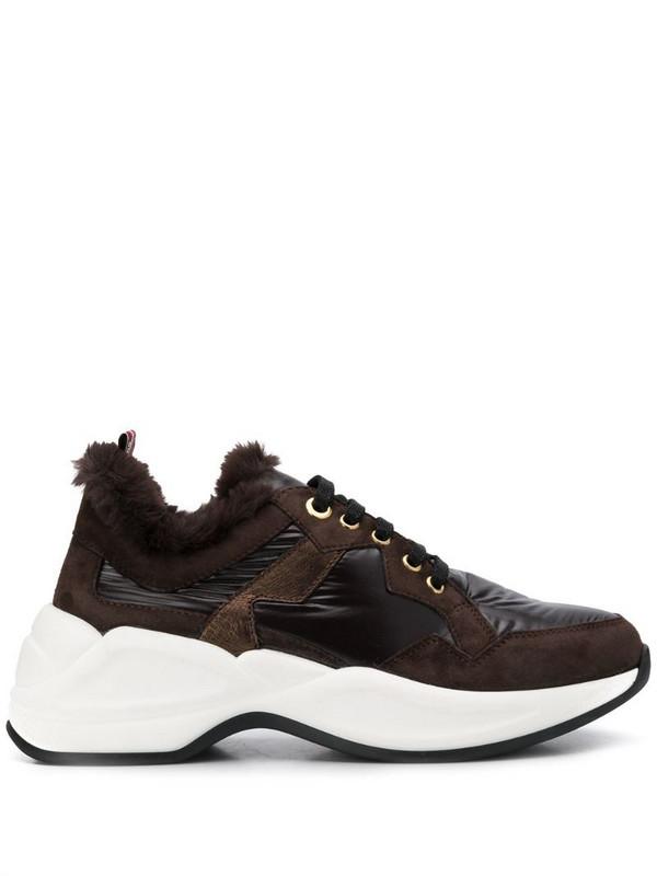Tosca Blu faux fur low top sneakers in brown