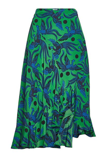 Kenzo Printed Silk Skirt with Asymmetric Hem  in green