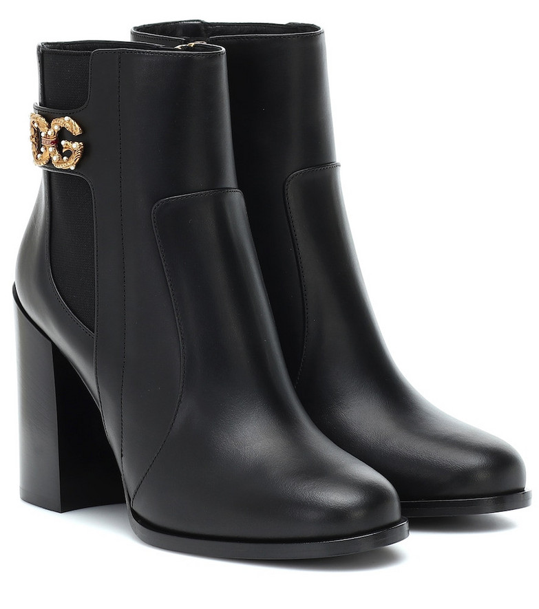 Dolce & Gabbana Rodeo 90 leather ankle boots in black