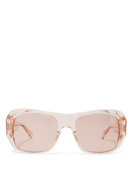 Celine Eyewear - Rectangular Frame Acetate Sunglasses - Womens - Light Pink