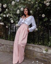pants,high waisted pants,pleated,pink pants,burberry,shirt,stripes,pumps