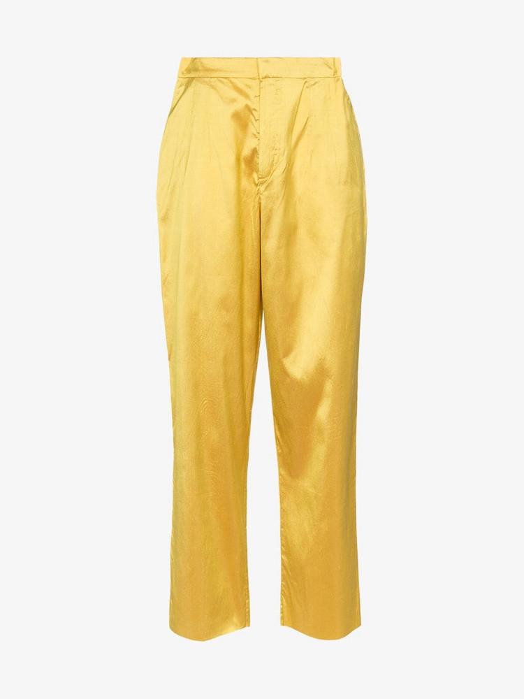 Marques'Almeida raw hem silk trousers in yellow