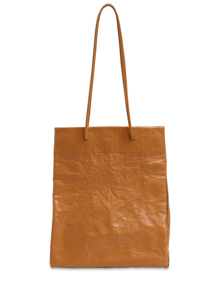 MEDEA Tall Busted Leather Top Handle Bag in brown