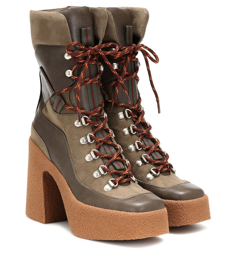 Stella McCartney Faux leather and suede ankle boots in brown