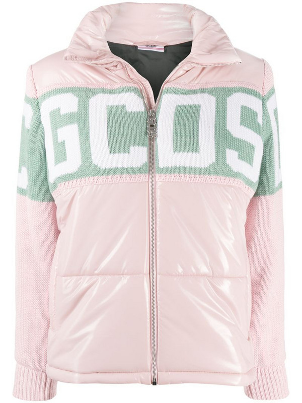 Gcds logo print padded jacket in pink