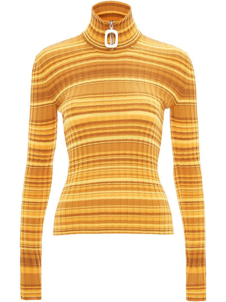 JW Anderson Neckbang ribbed striped jumper in yellow