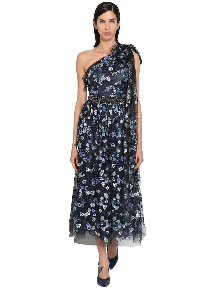 LUISA BECCARIA Embroidered One Shoulder Tulle Dress in blue / multi
