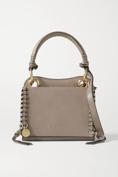 See By Chloé See By Chloé - Tilda Mini Whipstiched Suede And Leather Tote - Taupe