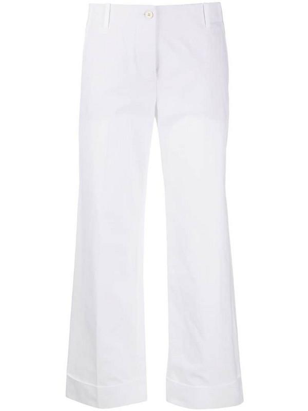 Alberto Biani cropped wide-leg trousers in white