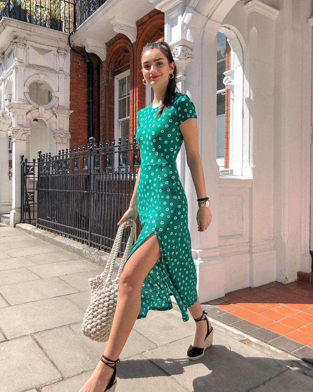 dress green dress floral dress midi dress short sleeve dress shoulder bag platform shoes black shoes