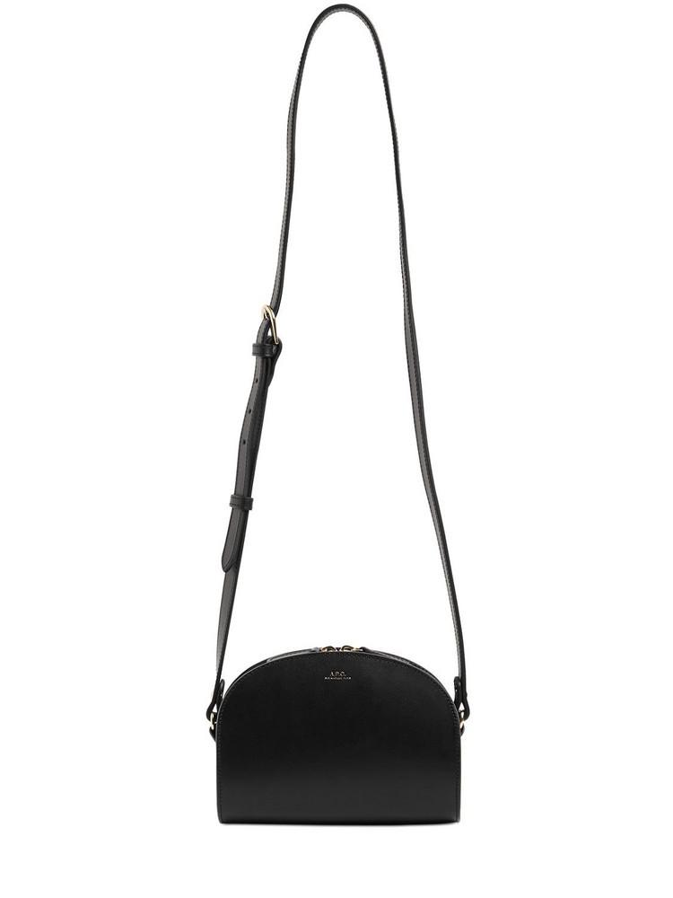 A.P.C. Mini Demi Lune Saffiano Leather Bag in noir