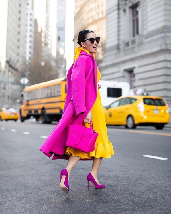 dress yellow dress pumps long coat pink coat bag