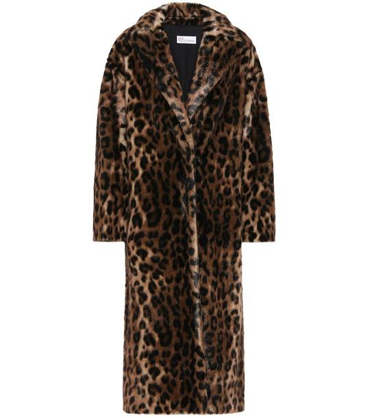 REDValentino Leopard-print faux fur coat in black