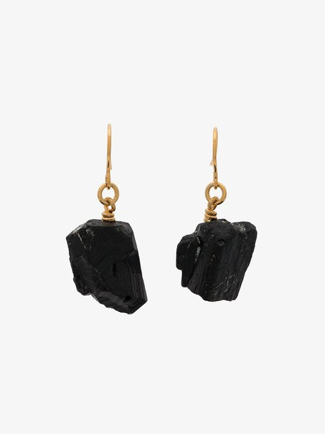 MÄRTA LARSSON gold plated The Raw One Black Tourmaline earrings