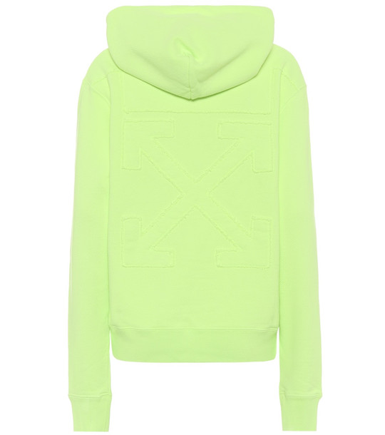 Off-White Cotton-jersey hoodie in yellow