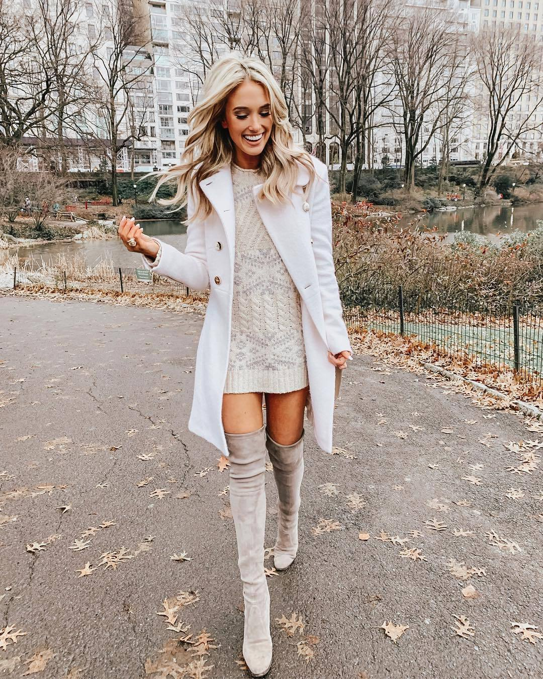 dress knitted dress cable knit mini dress over the knee boots grey white coat double breasted