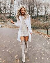 dress,knitted dress,cable knit,mini dress,over the knee boots,grey,white coat,double breasted